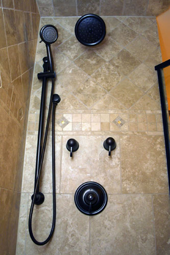 Superieur Classical Styling, Travertine Tile, Moen Oil Rubbed Bronze Fixtures, Rain  Head And Sliding Shower Wand On Separate Volume Controls With One  Temperature ...